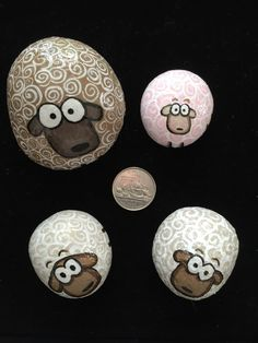 Painted rocks as sheep