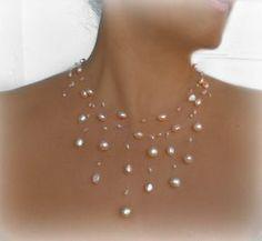 Schwimmende Halsband Braut Collier Illusion Hochzeit von anamarina