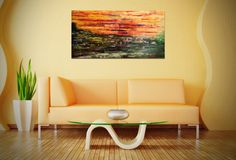 """Original Large Abstract Oil Painting, Modern Sunset - Size: 48"""" x 24"""" - 3/4"""" #Painting #Abstract #Large #Canvas #OilPainting #Sunset"""
