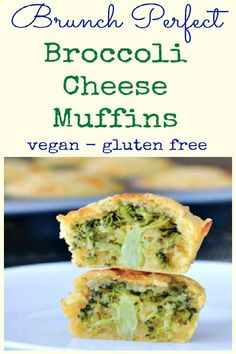 Vegan Broccoli Cheese Muffins - fluffy and cheesy - this fun recipe hides a whole tree of broccoli inside - tasty golden muffins with a fun veggie surprise! Best Vegetarian Recipes, Vegan Breakfast Recipes, Delicious Vegan Recipes, Dairy Free Recipes, Vegan Gluten Free, Brunch Recipes, Vegan Foods, Vegan Snacks, Vegan Party Food