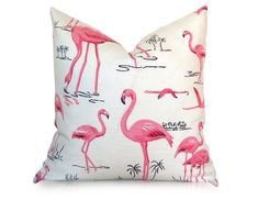Flamingo Pillow Cover - Pink Black Ivory - Bird Pillow - Decorative Pillow - Designer Pillow - More Sizes Flamingo Decor, Flamingo Party, Pink Flamingos, Flamingo Beach, Ikat Pillows, Decorative Pillows, Cushions, Bird Pillow, Pink Bird