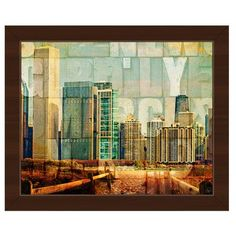 "Click Wall Art 'Urban City' Framed Graphic Art on Canvas Frame Color: Espresso, Size: 22.5"" H x 26.5"" W x 1"" D"