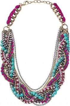 Turquoise and purple braided statement necklace