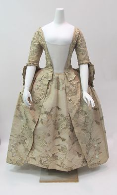 """c 1747 British silk dress with metal thread embroidery, length 55"""", at The Met"""
