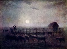 Jean-Francois Millet: The Sheepfold, Moonlight