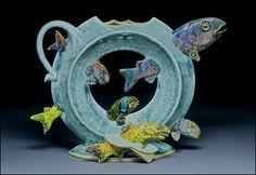 shark Teapot | Ray Bub - Ceramic Art Teapots A Rainbow Of Trout Upright Ring Teapot