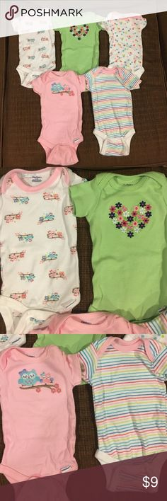 5 pack Gerber onesies LIKE NEW. Worn once! No stains or obvious wear. Great condition. Smoke free/pet free home. Gerber One Pieces Bodysuits