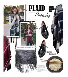 """""""Plaid Poncho"""" by seaside-boutique ❤ liked on Polyvore featuring Chanel, Jeffrey Campbell, women's clothing, women, female, woman, misses and juniors"""