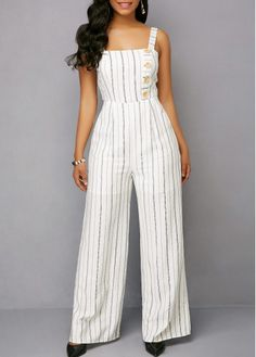 Button Detail Bowknot Back Striped White Jumpsuit Cheap jumpsuits rompers Jumpsuits & Rompers online for sale Color Scheme: White Material: Polyester, Spandex Pattern Type: Striped Fit Type: Straight Washing Instructions: Hand Wash /Machine Washable Fashion Pants, Look Fashion, Hijab Fashion, Fashion Dresses, Chic Outfits, Spring Outfits, Dress Outfits, Jumpsuit Outfit, White Jumpsuit