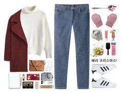 """Reply 1988's, Sung Deok Sun/Sung Soo Yeon Starter Pack"" by nut-and-nude ❤ liked on Polyvore featuring A.P.C., Hansel from Basel, Chicwish, MANGO, Pieces, adidas, Sony, Michele, BOBBY and Lancôme"