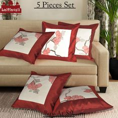 Popular #floral #Silk #printed 5 pieces set of #cushion cover at $9  #lalhaveli