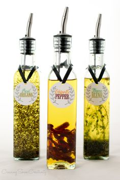 Spice Infused oil makes a gourmet DIY gift for a hostess, Christmas, or anytime. Using dried herbs like Chipotle Pepper, Basil, Oregano, Thyme, and Garlic to make amazing dipping oil for bread or to toss roasted veggies and meat in.