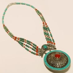 86gram vintage tibetian nepali handmade coral turquoise .925 silver necklace-514