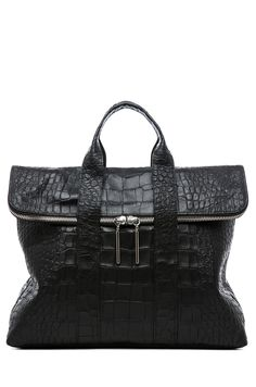 3.1 phillip lim | Matte Crocodile Embossed 31 Hour Bag in Black