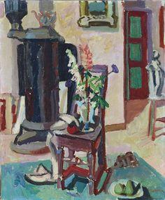 Max Gubler (Swiss, 1898-1973), Lupinen und Schafgarbe [Lupins and achillea], 1941. Oil on canvas, 73 x 60 cm.
