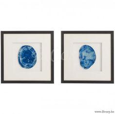 J-Line Kader Kunst Agaat Wit-Blauw 40 Assortiment van 2 stuks. Jline-by-Jolipa-66327