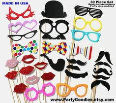 Items similar to Photobooth Props - Wedding Photo Booth Props 30 Piece Set - Party Photo Props on Etsy Photo Booth Party Props, Birthday Photo Booths, Wedding Photo Props, Diy Photo Booth, Photo Booth Backdrop, Lego Ninjago, Lego Friends, Batman Lego, Diy Fotokabine