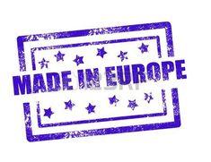 Hecho en Europa sello en blanco ilustración vectorial de fondo