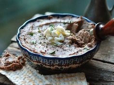 The Zimmern Family's Chopped Chicken Liver recipe. [This creamy version of the Jewish deli classic is flavored with lightly caramelized onions and decadent schmaltz, (rendered chicken fat)] Chicken Liver Recipes, Chicken Liver Pate, Chicken Livers, Passover Recipes, Jewish Recipes, Hanukkah Recipes, Passover Menu, A Food, Good Food