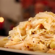 "Norwegian Christmas Cabbage Allrecipes.com  ""Norwegian Christmas Cabbage is essentially a kind of sweet and sour sauerkraut, spiced with caraway seeds."" — Finn Roed"