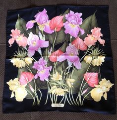 Striking Floral On Black Salvatore Ferragamo Silk Scarf #SalvatoreFerragamo #Scarf