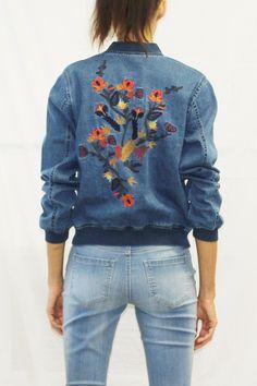 Embroidered Denim Varsity Jacket (Dark Wash)