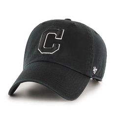 super popular c6299 913e3 Cleveland Indians 47 Brand Black White Logo Clean Up Adjustable Hat