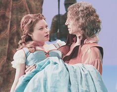 """""""When she fell— fell down from the ladder, into my arms, when the curtain gets pulled down, I did— I really liked that, that little moment: there's that really kind of startled look in my eyes, when Rumple sees the light come in and he's holding her for the first time, and of course that human touch is the last time Rumple actually had a human touch like that, so it's a big moment.""""  Robert Carlyle, Skin Deep episode commentary"""