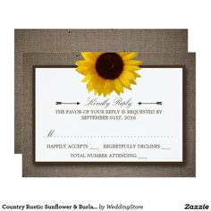Country Rustic Sunflower & Burlap Wedding RSVP
