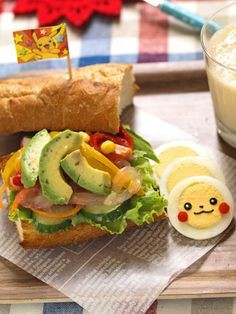 avocado sandwich w/ sliced boiled egg Pikachu