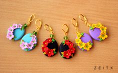 polymer clay flower earrings (zeitx)