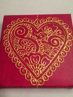 Henna Style Painted Hidden Initial Heart Canvas by HennaOnHudson