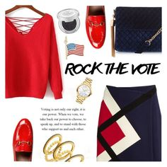 """""""Rock the Vote in Style"""" by sarah-crotty ❤ liked on Polyvore featuring MSGM, Gucci, New Look, Movado, Freida Rothman, Urban Decay, Rembrandt Charms and rockthevote"""