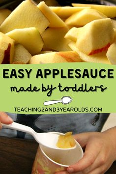 This easy applesauce recipe is so easy for preschoolers to make, and goes well with the classroom apple theme. The secret is using a rice cooker! #apples #applesauce #recipe #cooking #kids #toddlers #preschool #fall #autumn #teaching2and3yearolds Fall Activities For Toddlers, Autumn Activities, Easy Applesauce Recipe For Kids, Fall Bulletin Boards, Apple Theme, Autumn Art, Rice Cooker, Kids Meals, Recipes