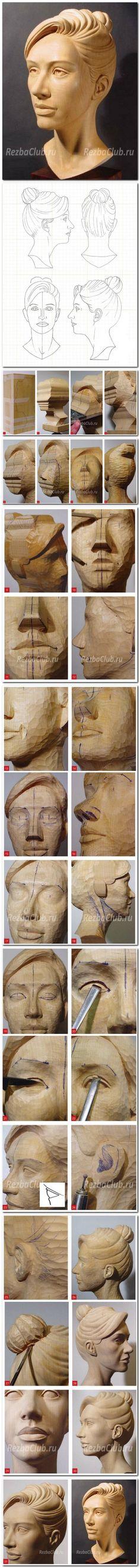 Как вырезать из дерева голову женщины