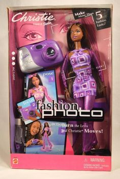 2001 Christie Fashion Photo Doll, Friend of Barbie NRFB Fashion Photo Christie Doll is a 2001 Mattel production. Christie Doll approx. 11.5  tall. Included in box - Outfit: pair of purple pants, purp