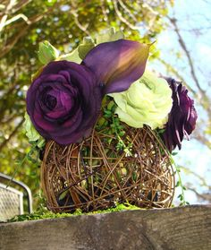 Uniquely Modern Bridal Rose and Calla Lily Sphere Natural Moss Wedding Centerpieces