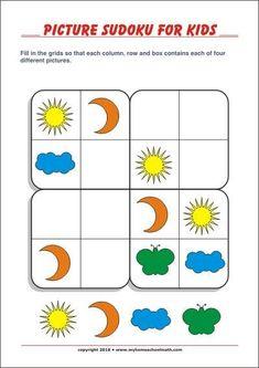 Printable Picture sudoku for kids with solution Preschool Poems, Preschool Activities At Home, Kindergarten Math Worksheets, Montessori Activities, Mind Benders, English Worksheets For Kids, Printable Puzzles For Kids, Printable Pictures, Brain Games