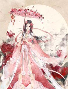 Anime Art Fantasy, Fantasy Artwork, Beautiful Fantasy Art, Beautiful Anime Girl, Kawaii Anime Girl, Anime Art Girl, Chinese Drawings, Anime Kimono, Geisha Art