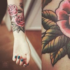 Cute rose tattoo placed on the forearm