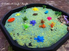 My theme this week for Let's Play is Under the Sea and we kicked this off on Saturday with some sensory play. My Tuff Spot tray has finall. Fish Activities, Summer Activities, Toddler Activities, Underwater Crafts, Underwater Theme, Tuff Spot, Under The Sea Crafts, Under The Sea Theme, Preschool Garden