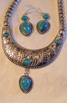 Tribal NecklaceEarrings Silver With Green Blue by JanEleven, $89.00