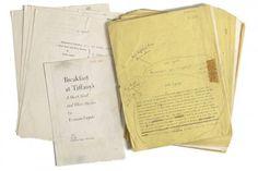 Le manuscrit dactylographié de Breakfast at Tiffany's de Truman Capote a été vendu aux enchères vendredi pour la somme de 306 000 $US. (Copyright : lapresse)