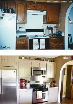Inspiring Designs | The Lettered Cottage  Do it yourself...refacing old cabinets