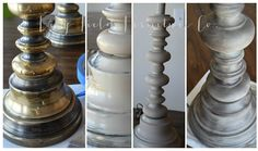 DIY Brass Lamp Makeover: Country Chic Chalk Paint Driftwood, Antiquing Wax and White Wax: Lily Field Furniture Co.