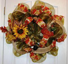 Fall Deco Mesh Wreath with beautiful Sunflower, Acorns & Metal pumpkin.