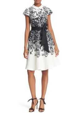 Ted Baker London 'Hoppe' Sash Tied Illustrated Print Shirtdress available at #Nordstrom