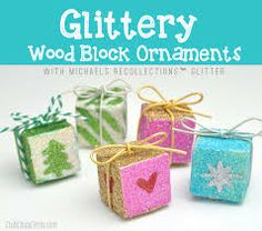 Christmas ornaments made out of blocks