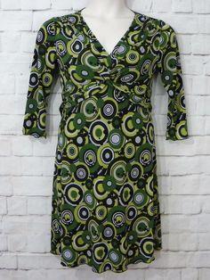Womens COCOMO Green Gray Black Geo Circles Gathered Empire Waist Dress SZ Small #Cocomo #EmpireWaist #CasualWeartoWork