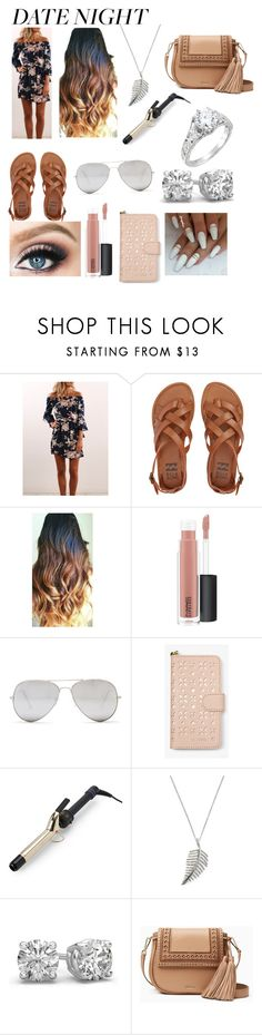 """Summer date night"" by hannahsheets ❤ liked on Polyvore featuring Billabong, MAC Cosmetics, Sunny Rebel, MICHAEL Michael Kors, Hot Tools, Karma Jewels and Kate Spade"